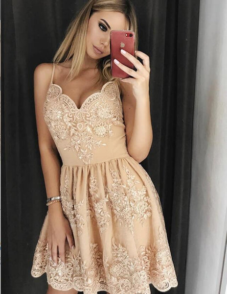 A-Line Spaghetti Straps Homecoming Dresses with Appliques Beading, QB0004