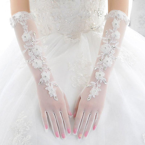 Bridal Gloves, French Lace Gloves, Floral Rhinestone Bridal Gloves, Long Design Fingerless Gloves, Wedding Gloves, TYP0544