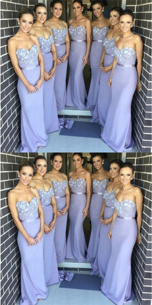 Elegant Mermaid Sweetheart Lavender Satin Bridesmaid Dresses with Appliques, QB0141
