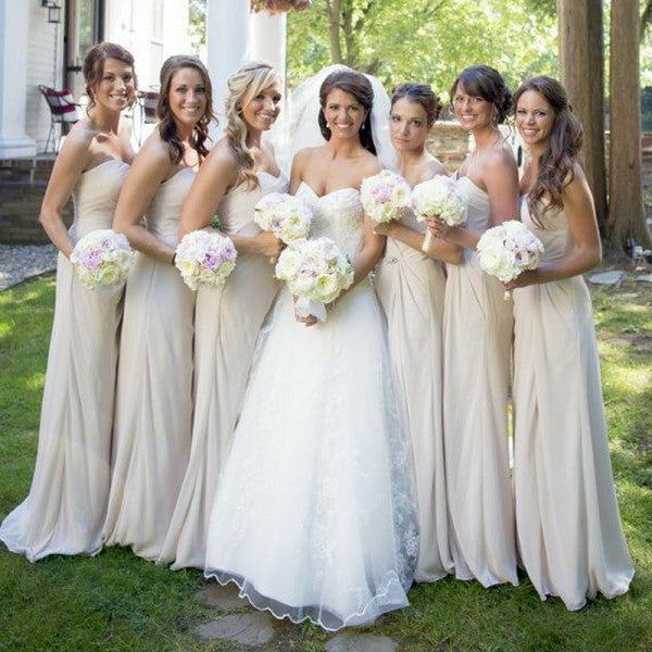 Pretty Sweetheart Long Cheap Ivory Chiffon Bridesmaid Dresses Online, QB0172