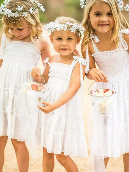 Cute A-Line Spaghetti Straps White Long Cheap Flower Girl Dresses with Bow Knot, QB0099