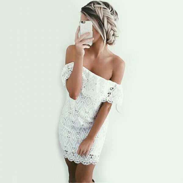 Tight Off-Shoulder White Lace Short Cheap Homecoming Dresses, QB0180
