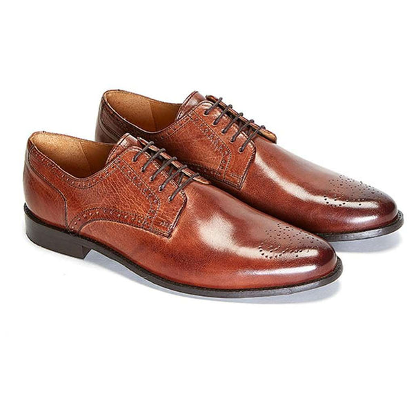 GOURER EMBOSSED BROWN LEATHER SHOES