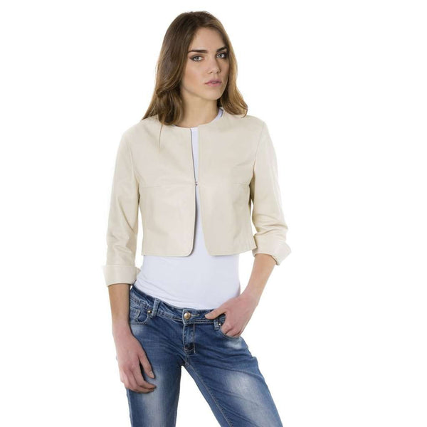 Women's leather short jacket beige Miss