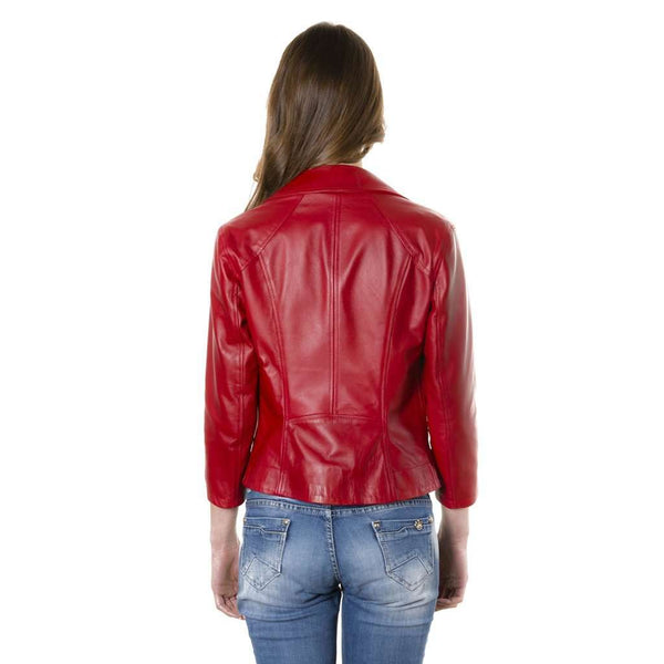 Women's perfecto leather jacket biker red KCC