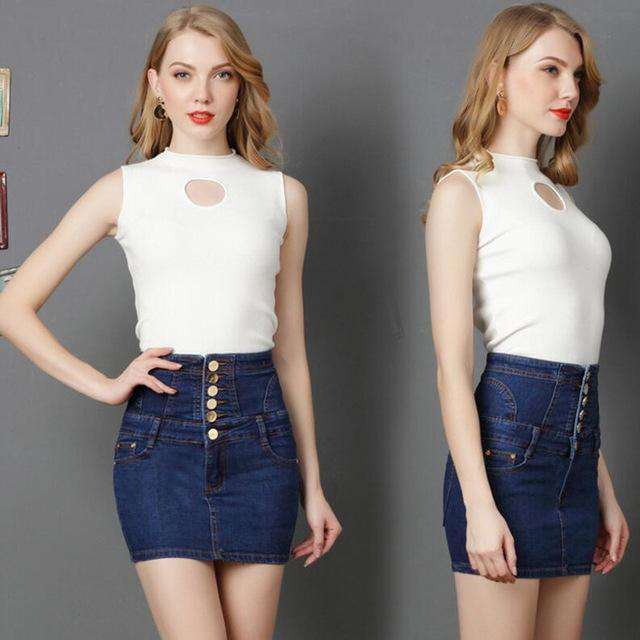 WKOUD 2018 High Waist Denim Skirt Women Fashion Solid Skirts Casual Jeans Straight Mini Tassel Skirt Shorts S-4XL P8228