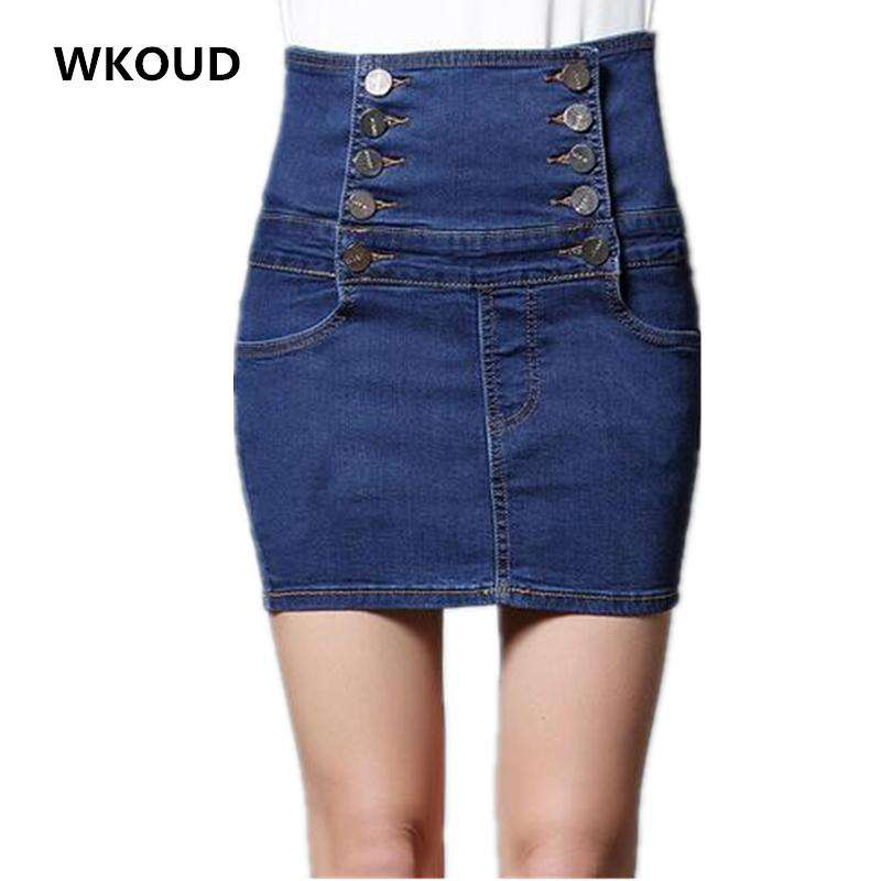 WKOUD Women High Waist Double Breasted Denim Skirt Solid Large Size Skirts Fashion Casual Corset Jeans Shorts S-XXXXL P8254