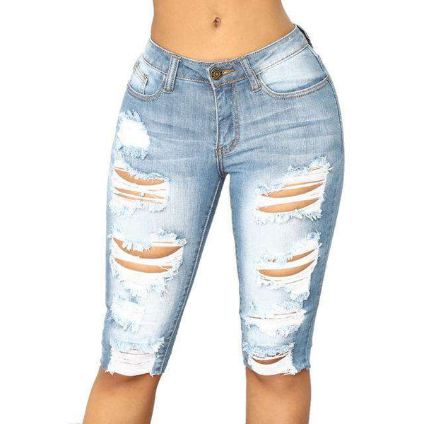 Womens Ladies Summer Jeans Casual Elastic Denim Leggings Destroyed Bermuda Shorts Jeans Pants woman jeans 2018