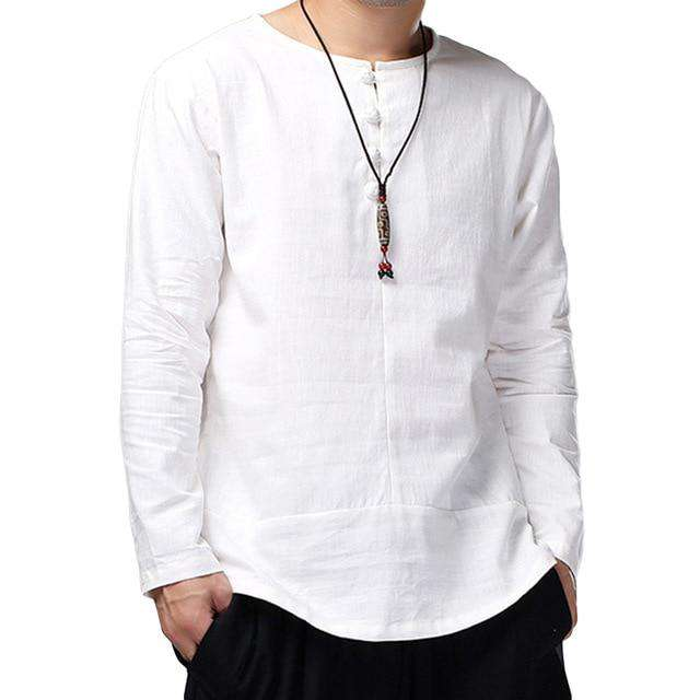 High Quality Cotton Linen Shirts Men Dress Long Sleeve Crew-Neck White Casual Shirt