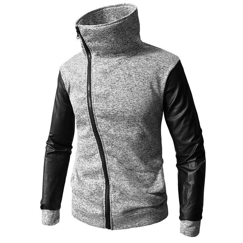 Fashion Turtle Zipper Jacket Patch Leather Sleeve Sweatshirt