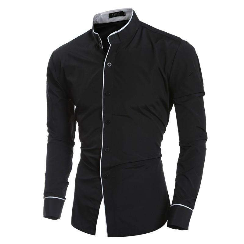 Men Shirt luxury Brand Long Sleeve Mandarin Collar Solid Slim Fit Casual Dress Shirt Men Clothes
