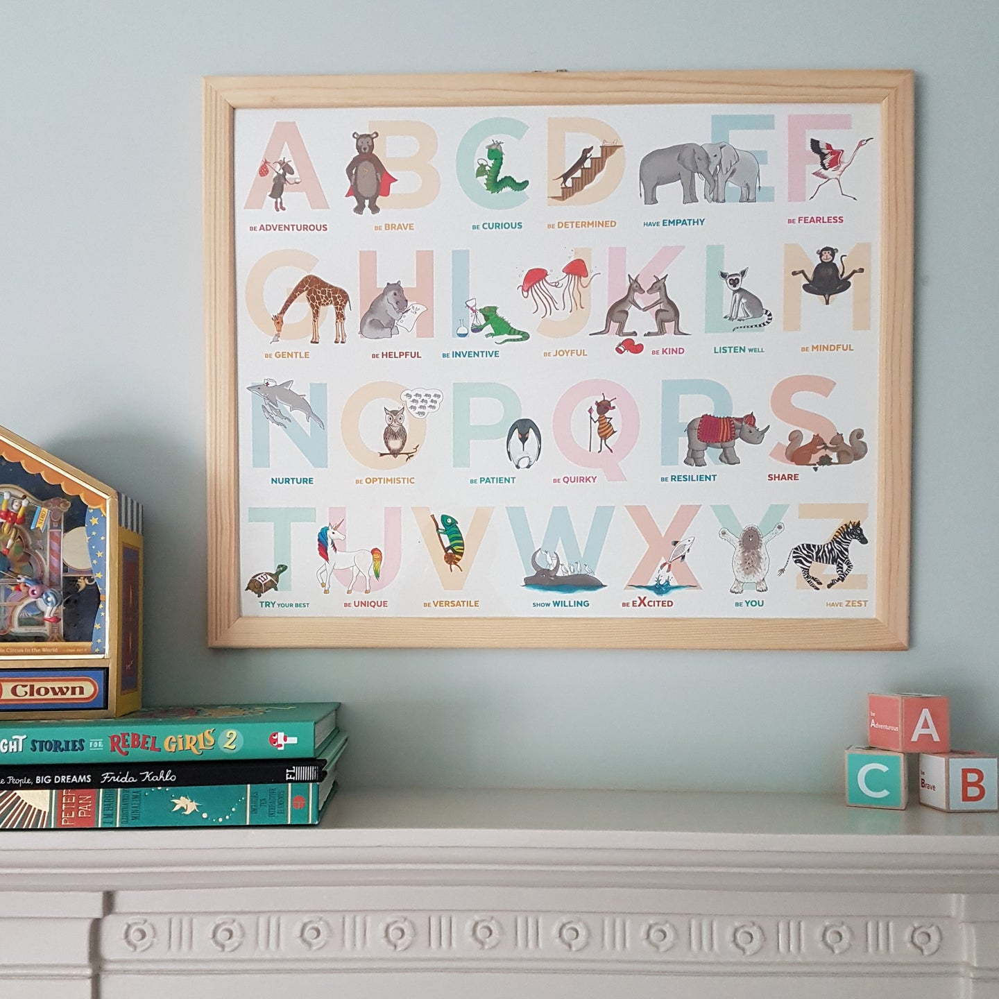 Illustrated animal Alphabet of Emotions children's print