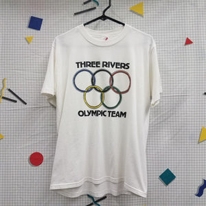 Vintage Three Rivers Olympic Team Shirt Size L Jerzees Grid Tag
