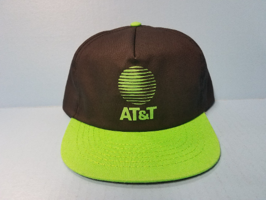 Vintage Black / Neon Green AT&T Snapback Trucker Hat NEW NWOT Flat Bill