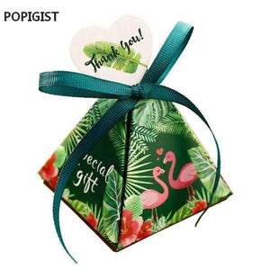 Floral Green Flamingo Triangular Pyramid Wedding Favors Candy Boxes Bridal Shower Party Gift Box Bomboniera Giveaways Box