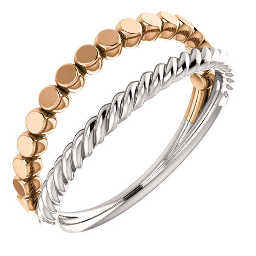14K Gold Flat Bead and Rope Design Stackable Ring