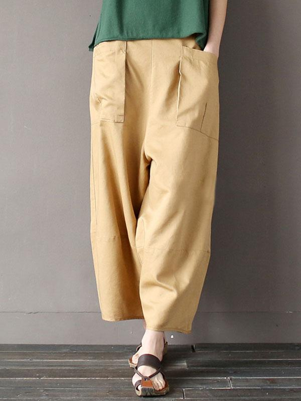 Casual Big Pocket Pure Linen Pants