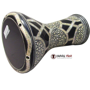 The 17'' Black Galaxy Gawharet El Fan Darbuka Doumbek With Black PowerBeat Skin