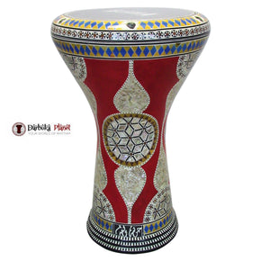 "The Red Sunflower Gawharet El Fan 17"" Mother of Pearl Darbuka"