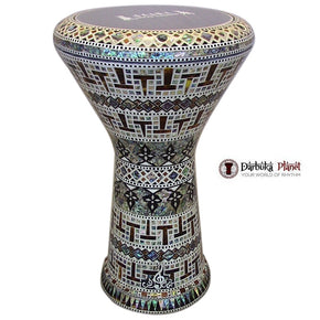The New Generation 2.0 Red Temple Darbuka Doumbek With Blue Mother of Pearl Gawharet El Fan