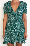 MON CHERI SS WRAP DRESS - EMERALD