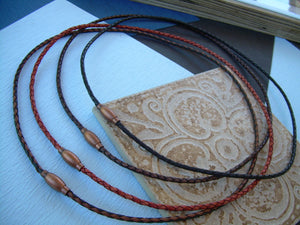 Thin Braided Leather Necklace With Copper Toned Brass Magnetic Clasp