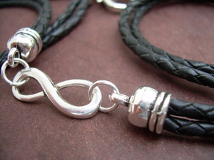 Black Braided Leather Wrap Infinity Bracelet with Nugget Lobster Clasp - Urban Survival Gear USA
