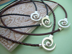Leather Necklace Men's Women's Unisex - Antique Silver  -Tribal Inspired Spiral Pendant Closure, Mens Jewelry, Womens Jewelry - Urban Survival Gear USA