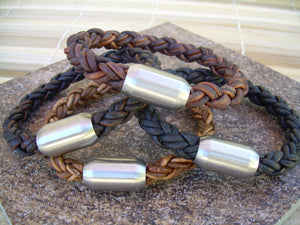 Thick Braided Leather Bracelet with Matte Stainless Steel Magnetic Clasp