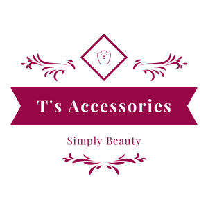 "T's Accessories logo with picture of necklace and ""Simply Beauty"" phrase."