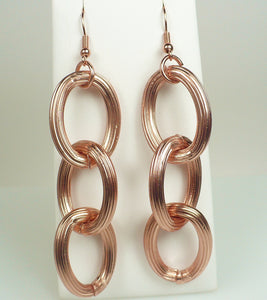 Matte Rose Gold Cable Link Earrings