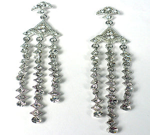 Filigree Clear Crystals Drop Earrings