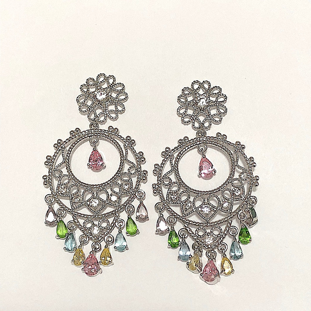 Filigree Multi CZ Chandelier Earrings