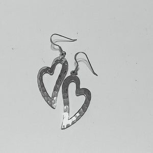 Hammered Sterling Silver Open Heart Earrings