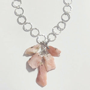 Raw Pink Opal Cluster Necklace Set
