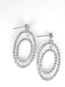 Clear Crystals  Double Oval Earrings