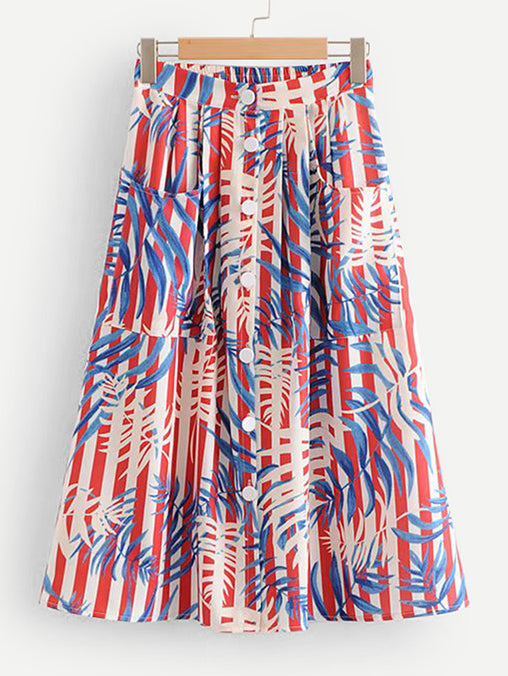 Multicolor Leaf Print Button Through Skirt