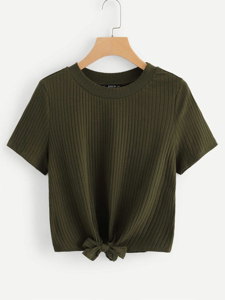 Army Green Knot Front Solid Ribbed T-Shirt
