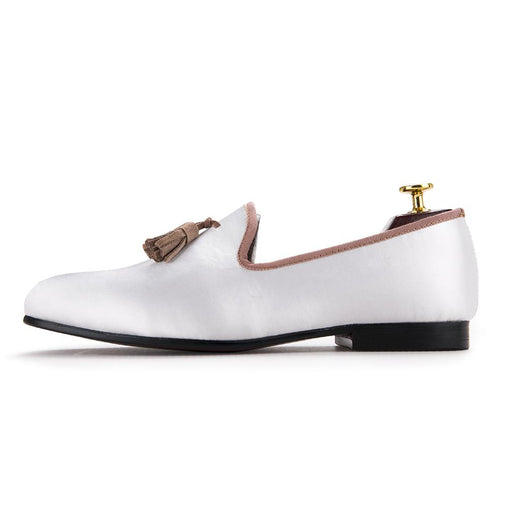 Beige Slipon Round Toe Loafers