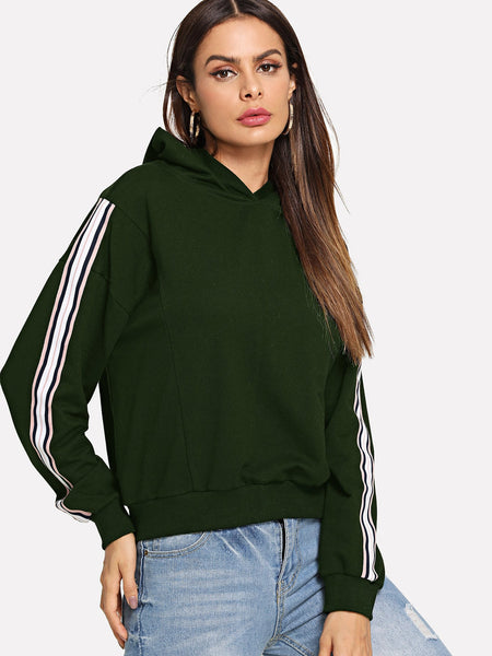 Army Green Striped Long Sleeve Hoodie