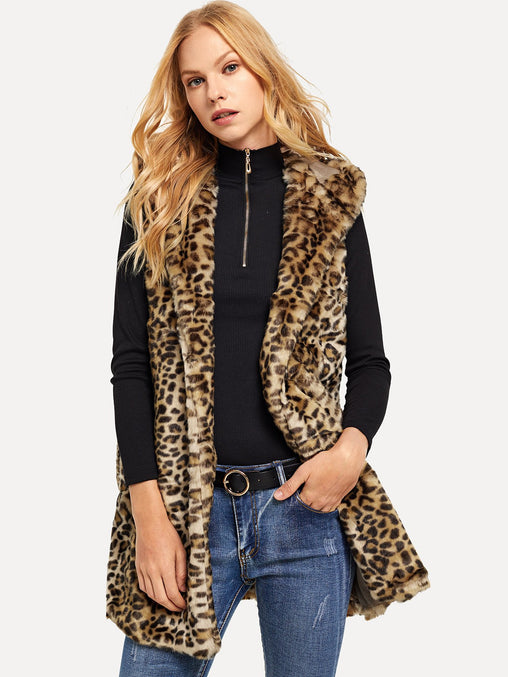 Multicolor Hooded Leopard Print Faux Fur Vest