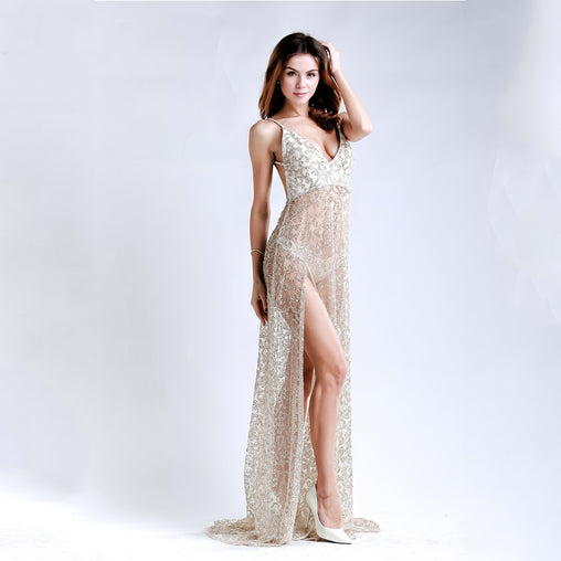 Beige Maxi Sequin Dress