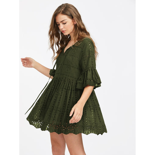 Army Green V-Neck Embroidered Mini Dress