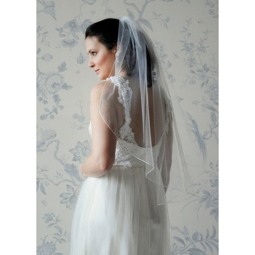 Abbie Veil White Cascading Cut Trimmed Bridal Dress