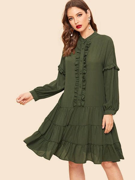 Army Green Buttoned Ruffle Trim Layered Midi Dress