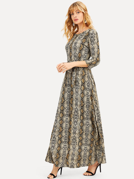 Animal Print Round Neck Maxi Dress