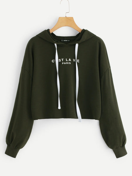 Army Green Drop Shoulder Hoodie