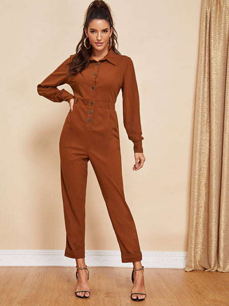 Button Front Collar Neck Solid Jumpsuit