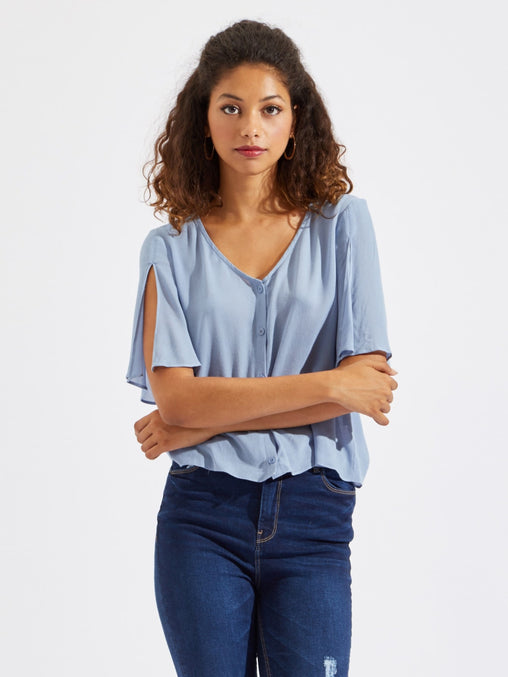 Blue Flutter Sleeve Button Up Blouse