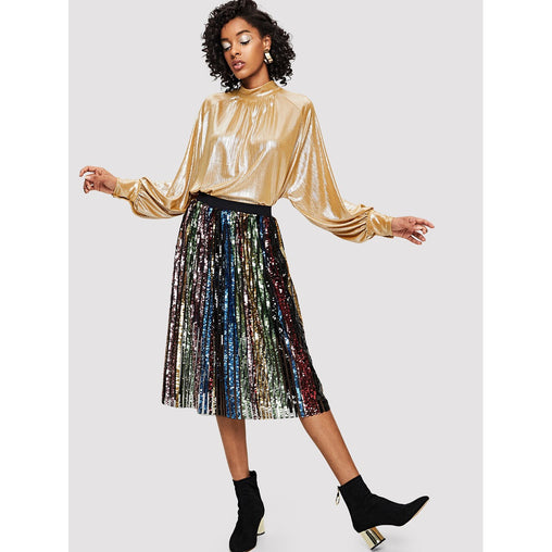 Multicolor Colorful Sequin Panel Skirt